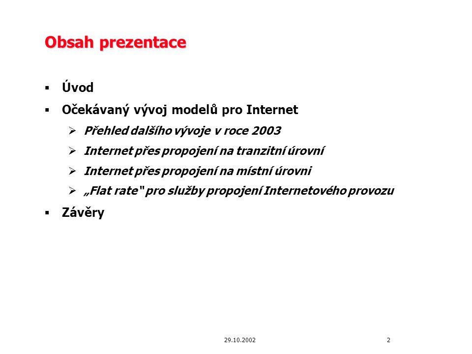 29.10.2002 Úvod Stav v ČR v porovnání s vývojem v EU