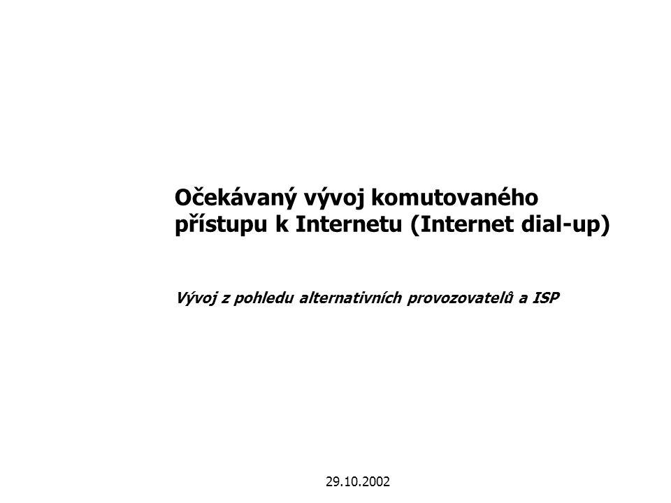 629.10.2002 Přehled dalšího vývoje v roce 2003 z pohledu zákazníků, alternativních provozovatelů a ISP prosinecledenúnorbřezendubenkvětenříjenzářisrpenčervenecčerven 2002 Zavedení Internetu přes propojení na tranzitní úrovni s celonárodním pokrytím 2003 listopadlistopad Zavedení flat rate pro Internet přes propojení Zpřistupnění místní smyčky pro xDSL prosinec Ceny a služby pro koncové zákazníky   Možnost tvorby vlastních cen pro ISP   Internet přes služby výběru provozovatele   Možnost přechodu na služby ADSL alternativních operátorů   Pevná cena za komutovaný přístup k Internetu (flat rate) pro koncové zákazníky   Široká nabídka služeb xDSL alternativních provozovatelů   Zpřehlednění cen ČTc (prvních 10 min, balíčky )   Snížení rozdílu cen v silném a slabém pásmu   Internet přes služby výběru provozovatele Zavedení Internetu přes propojení na místní úrovni s celonárodním pokrytím Q1 '03 Komerční a technické řešení Velkoochodní nabídka pro ADSL Q3 '03 Nabídka služeb xDSL alternativními provozovateli