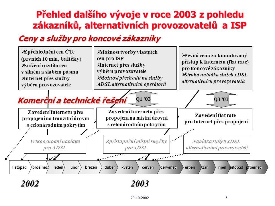 729.10.2002 Ceny pro koncové zákazníky pro rok 2003 by měly být přehledné, nediskriminující a neomezující Hlavní principy pro tvorbu cen pro koncové zákazníky prosazované alternativními operátory a poskytovateli Internetových služeb (ISP) sdružených v AORTA: Transparentnost cen:   Stávající ceny pro koncové zákazníky stanovené ČTc se liší dle délky připojení, časového pásma a tarifů – struktura cen je příliš komplikovaná => Návrh AORTA: zjednodušení cen, snížení rozdílu minutové ceny v závislosti na délce připojení Nediskriminace cen:   Ceny pro koncové zákazníky za přístup ke službám ISP by měly být stejné bez ohledu na technické řešení směrování Internetového provozu a výběru ISP => Návrh AORTA: ČTÚ stanoví princip nediskriminace cen Ceny neomezující zákazníka:   Poměr cen za připojení k Internetu v silném a slabém pásmu je 3:1 až 4:1 dle délky připojení, přičemž v hlasových službách je tento poměr 2:1   Účtování ceny za minutu při neexistenci pevné ceny (flat rate) za přístup ke službám ISP nepodporuje další rozvoj Internetu => Návrh AORTA: snížení rozdílu cen v silném a slabém pásmu, zavedení pevné ceny za určité časové období (flat rate) po umožnění pevných cen za kapacitu propojení