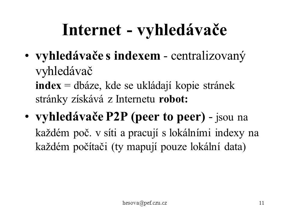 hesova@pef.czu.cz11 Internet - vyhledávače vyhledávače s indexem - centralizovaný vyhledávač index = dbáze, kde se ukládají kopie stránek stránky získ
