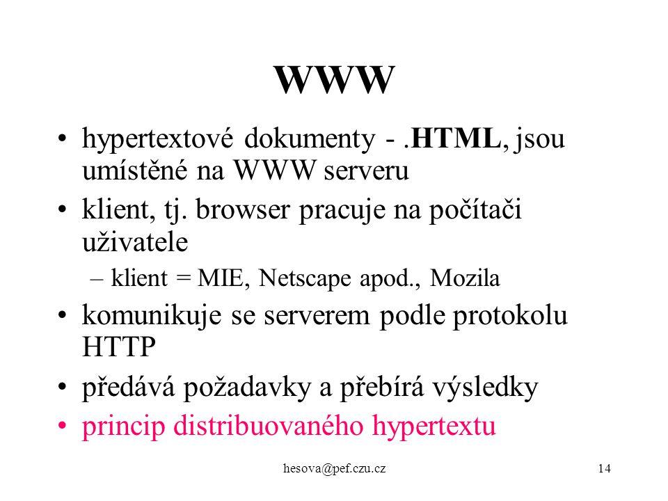 hesova@pef.czu.cz14 WWW hypertextové dokumenty -.HTML, jsou umístěné na WWW serveru klient, tj. browser pracuje na počítači uživatele –klient = MIE, N