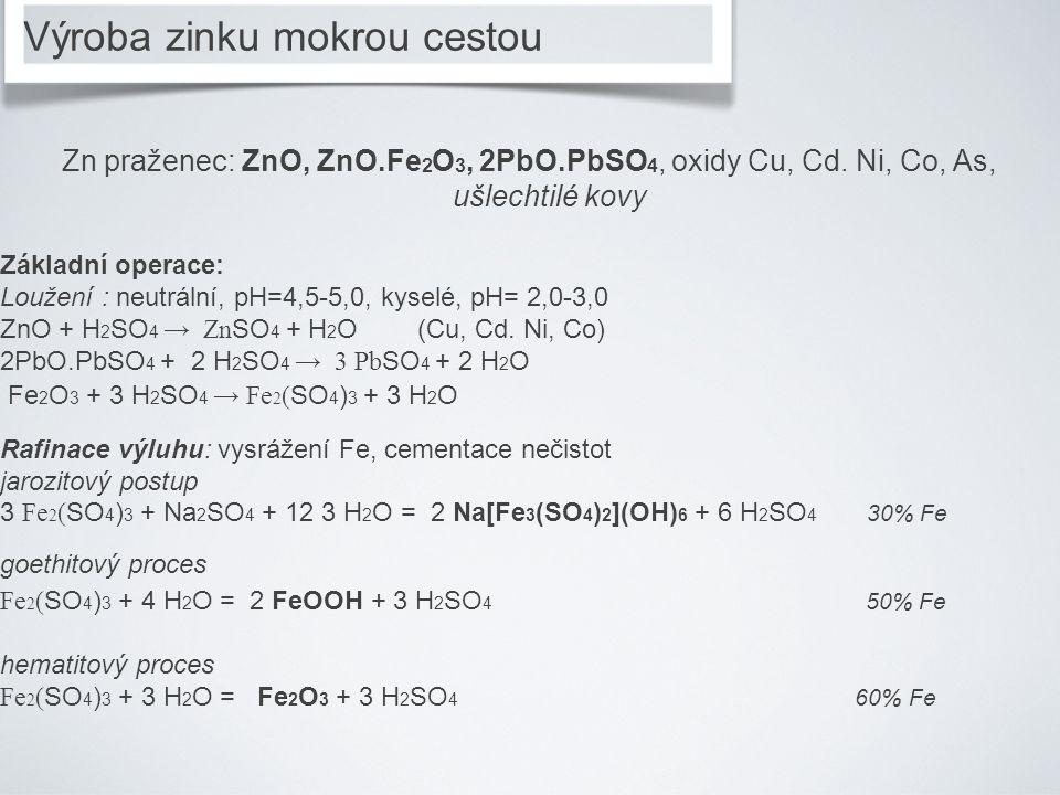 Zn praženec: ZnO, ZnO.Fe 2 O 3, 2PbO.PbSO 4, oxidy Cu, Cd. Ni, Co, As, ušlechtilé kovy Základní operace: Loužení : neutrální, pH=4,5-5,0, kyselé, pH=