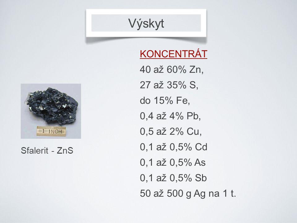 Výskyt Sfalerit - ZnS KONCENTRÁT 40 až 60% Zn, 27 až 35% S, do 15% Fe, 0,4 až 4% Pb, 0,5 až 2% Cu, 0,1 až 0,5% Cd 0,1 až 0,5% As 0,1 až 0,5% Sb 50 až