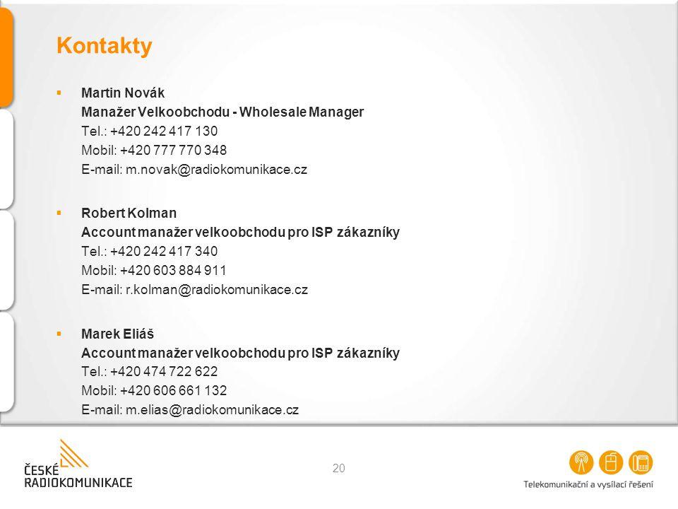 Kontakty  Martin Novák Manažer Velkoobchodu - Wholesale Manager Tel.: +420 242 417 130 Mobil: +420 777 770 348 E-mail: m.novak@radiokomunikace.cz  R
