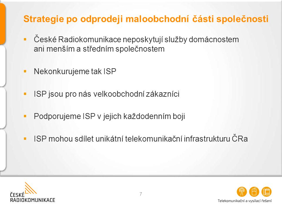 Strategie po odprodeji maloobchodní části společnosti  České Radiokomunikace neposkytují služby domácnostem ani menším a středním společnostem  Neko