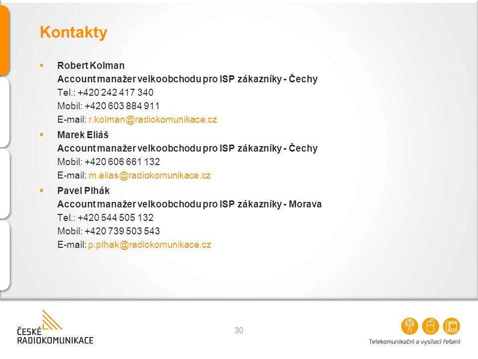 Kontakty  Robert Kolman Account manažer velkoobchodu pro ISP zákazníky - Čechy Tel.: +420 242 417 340 Mobil: +420 603 884 911 E-mail: r.kolman@radiok