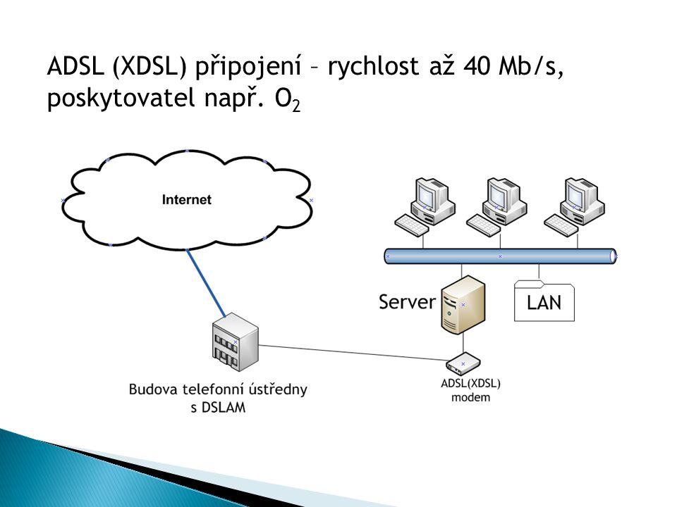 ADSL (XDSL) připojení – rychlost až 40 Mb/s, poskytovatel např. O 2