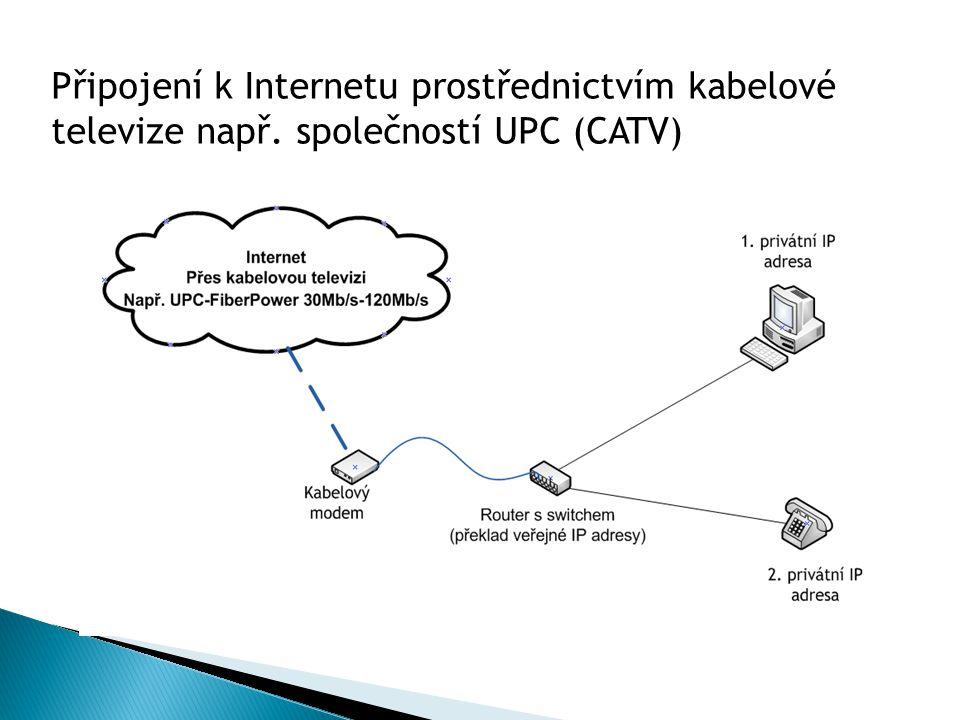 Připojení k Internetu prostřednictvím kabelové televize např. společností UPC (CATV)