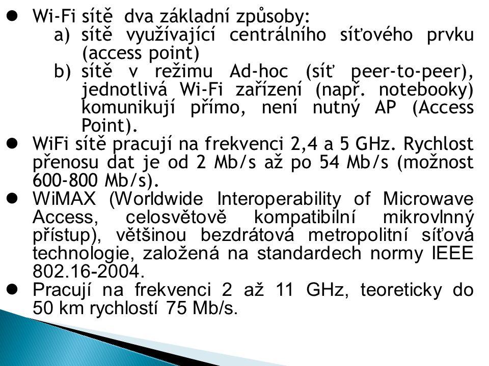 Wi-Fi sítě dva základní způsoby: a)sítě využívající centrálního síťového prvku (access point) b)sítě v režimu Ad-hoc (síť peer-to-peer), jednotlivá Wi-Fi zařízení (např.