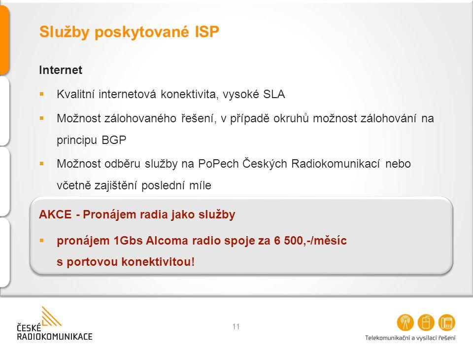 Služby poskytované ISP Internet  Kvalitní internetová konektivita, vysoké SLA  Možnost zálohovaného řešení, v případě okruhů možnost zálohování na p