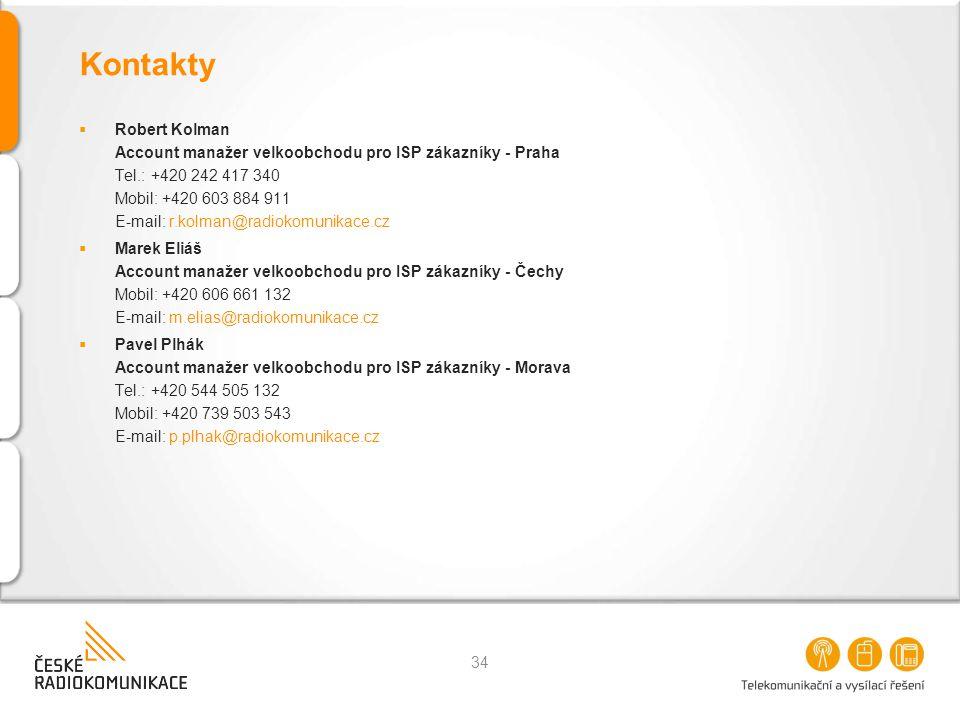 Kontakty  Robert Kolman Account manažer velkoobchodu pro ISP zákazníky - Praha Tel.: +420 242 417 340 Mobil: +420 603 884 911 E-mail: r.kolman@radiok