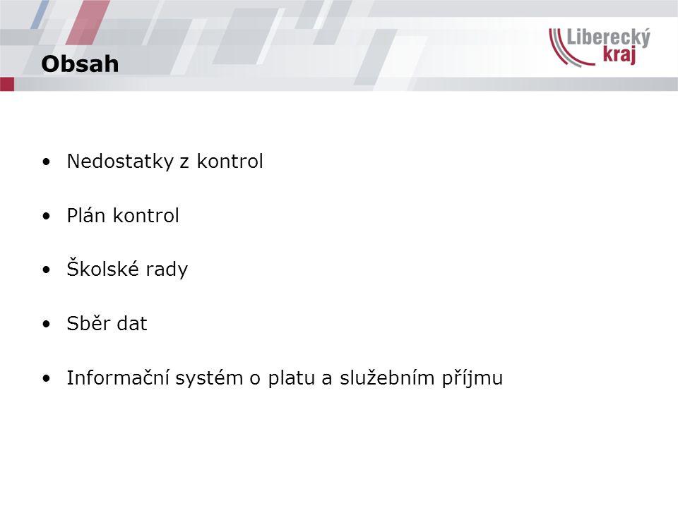 Obsah Nedostatky z kontrol Plán kontrol Školské rady Sběr dat Informační systém o platu a služebním příjmu