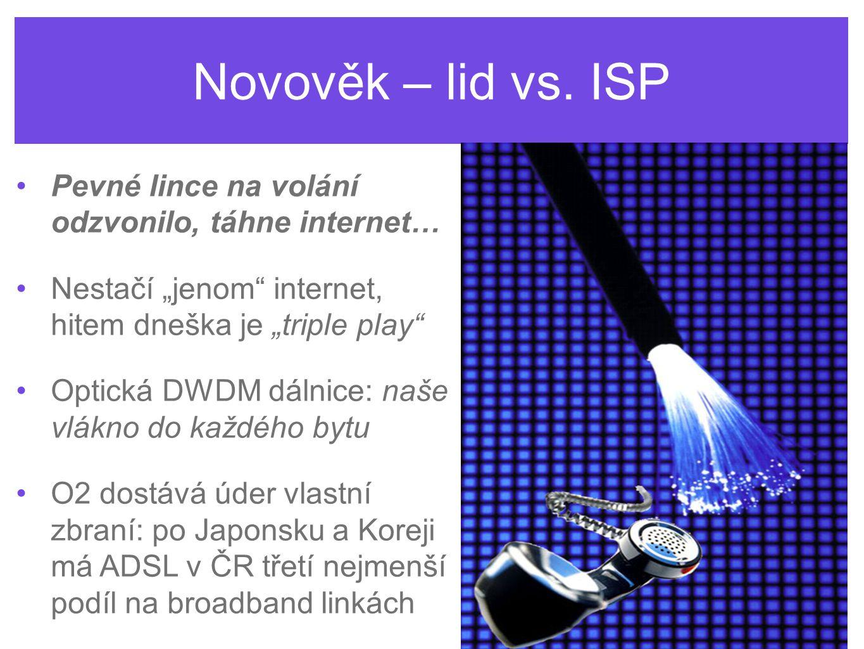 """Novověk – lid vs. ISP Pevné lince na volání odzvonilo, táhne internet… Nestačí """"jenom"""" internet, hitem dneška je """"triple play"""" Optická DWDM dálnice: n"""