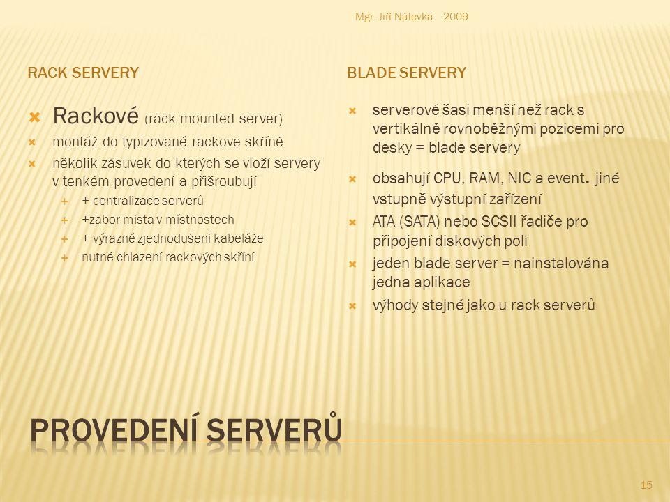 RACK SERVERYBLADE SERVERY  Rackové (rack mounted server)  montáž do typizované rackové skříně  několik zásuvek do kterých se vloží servery v tenkém provedení a přišroubují  + centralizace serverů  +zábor místa v místnostech  + výrazné zjednodušení kabeláže  nutné chlazení rackových skříní  serverové šasi menší než rack s vertikálně rovnoběžnými pozicemi pro desky = blade servery  obsahují CPU, RAM, NIC a event.