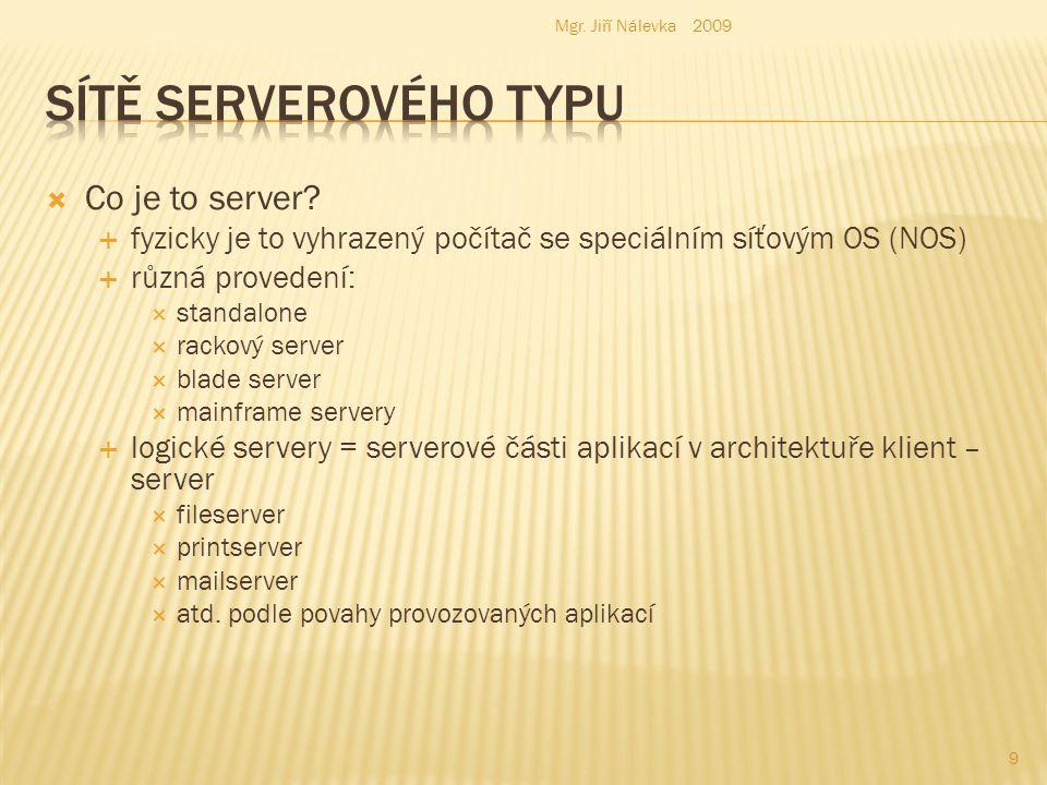  Peer-to-Peer  propojení pracovních stanic  stanice, která sdílí svoje zdroje (adresáře = složky) nebo HW ( FDD, HDD, CD, DVD, tiskárny, internetové připojení):vystupuje v roli serveru  nezná pojem uživatele: v síti jsou vidět jednotlivé stanice  pro malé sítě (kancelář)  malá bezpečnost  necentralizovaná správa  licence na počet workstation  Serverový typ  síť s velkým serverem  ze stanice s OS se k serveru přihlašuje uživatel (user)  probíhá autentizace a autorizace  zná zpravidla i názvy počítačů z důvodů aplikací tzv.