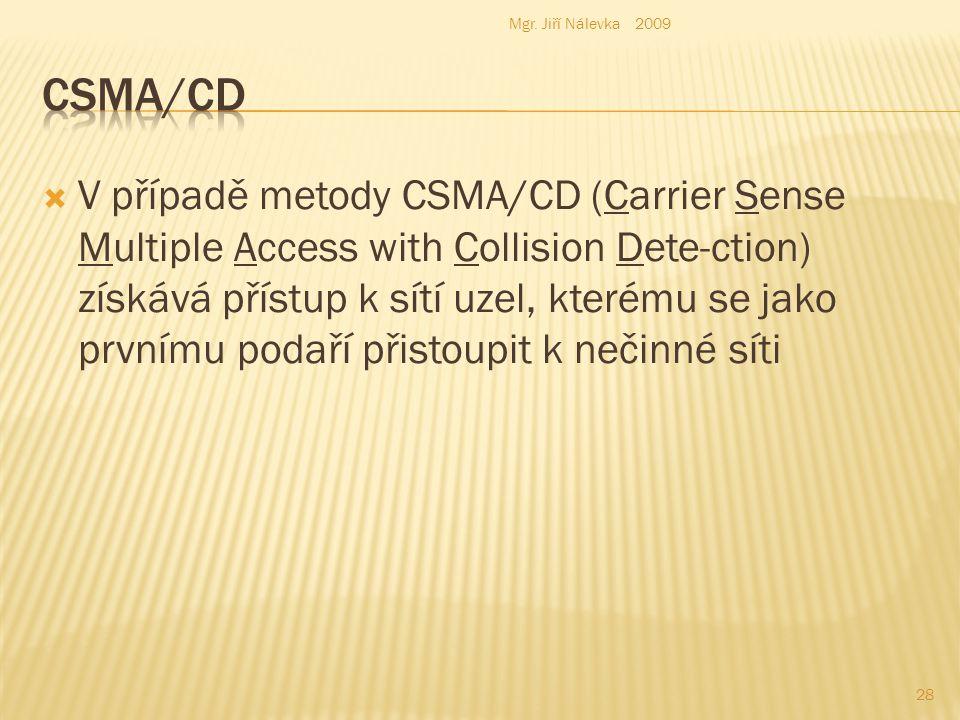  V případě metody CSMA/CD (Carrier Sense Multiple Access with Collision Dete-ction) získává přístup k sítí uzel, kterému se jako prvnímu podaří přistoupit k nečinné síti Mgr.