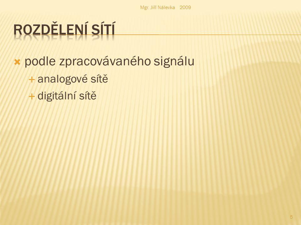  podle zpracovávaného signálu  analogové sítě  digitální sítě Mgr. Jiří Nálevka 2009 5