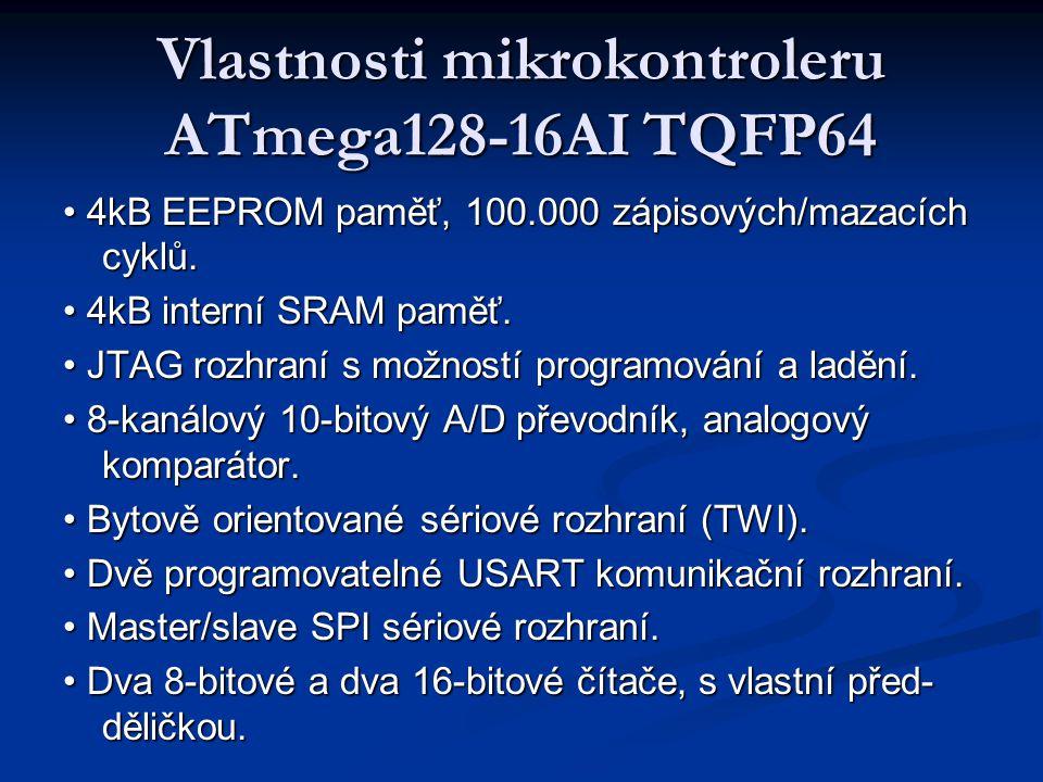 Vlastnosti mikrokontroleru ATmega128-16AI TQFP64 4kB EEPROM paměť, 100.000 zápisových/mazacích cyklů. 4kB EEPROM paměť, 100.000 zápisových/mazacích cy