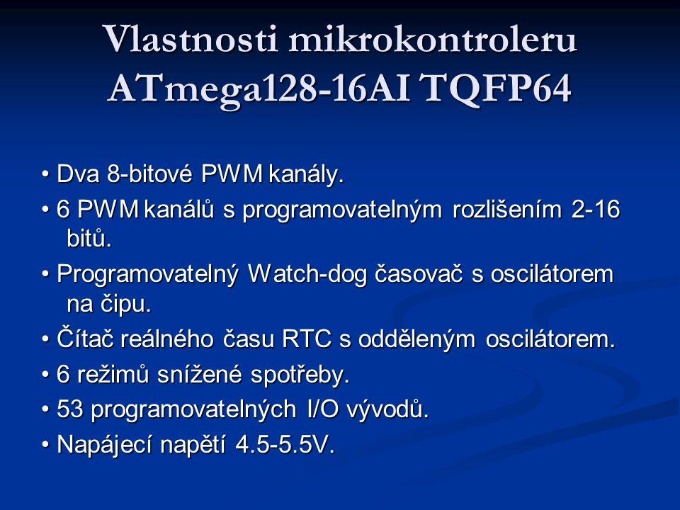 Vlastnosti mikrokontroleru ATmega128-16AI TQFP64 Dva 8-bitové PWM kanály. Dva 8-bitové PWM kanály. 6 PWM kanálů s programovatelným rozlišením 2-16 bit