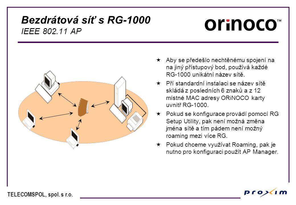 TELECOMSPOL, spol. s r.o. Bezdrátová síť s RG-1000 IEEE 802.11 AP  Aby se předešlo nechtěnému spojení na na jiný přístupový bod, používá každé RG-100
