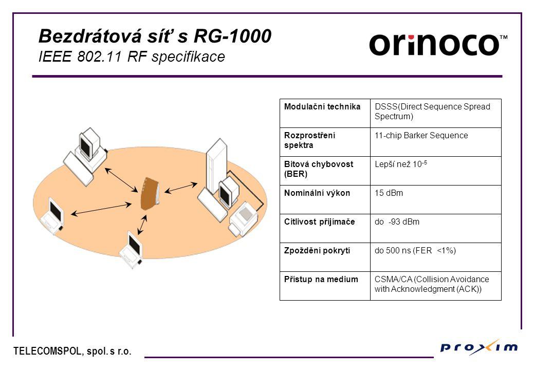 TELECOMSPOL, spol. s r.o. Bezdrátová síť s RG-1000 IEEE 802.11 RF specifikace Modulační technikaDSSS(Direct Sequence Spread Spectrum) Rozprostření spe