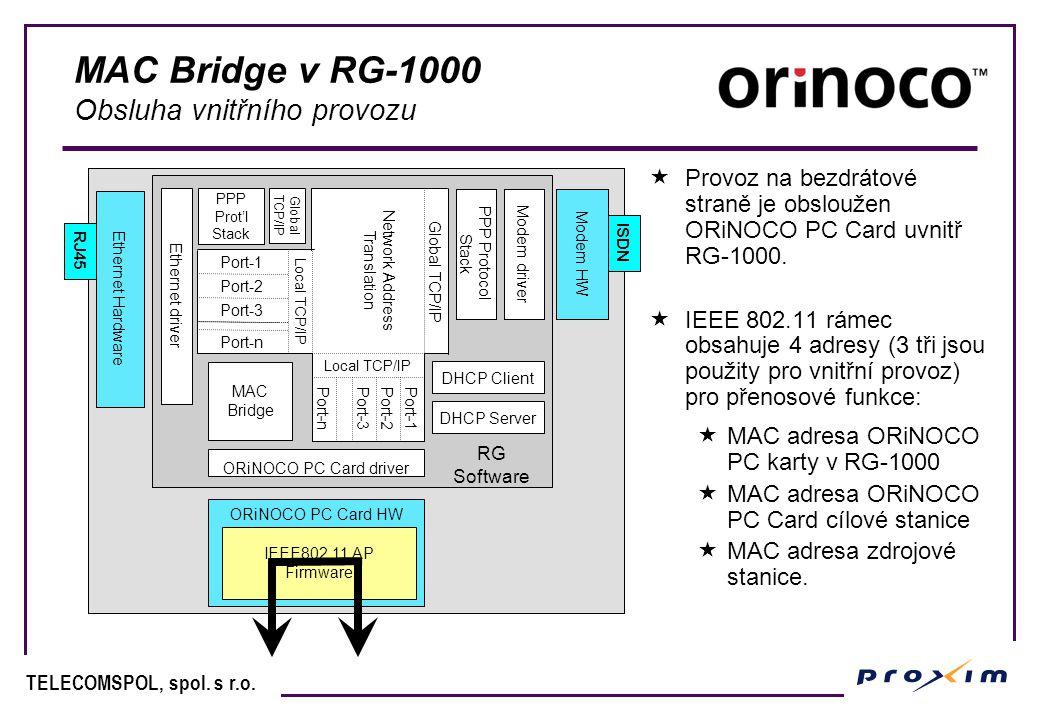 TELECOMSPOL, spol. s r.o. MAC Bridge v RG-1000 Obsluha vnitřního provozu  Provoz na bezdrátové straně je obsloužen ORiNOCO PC Card uvnitř RG-1000. 