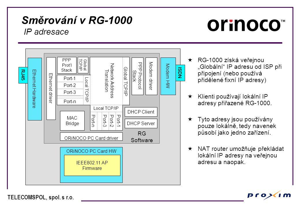 """TELECOMSPOL, spol. s r.o. Směrování v RG-1000 IP adresace  RG-1000 získá veřejnou """"Globální"""" IP adresu od ISP při připojení (nebo používá přidělené f"""