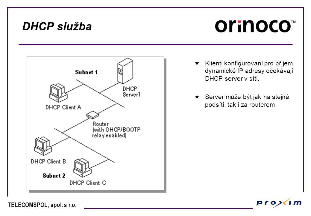 TELECOMSPOL, spol. s r.o. DHCP služba  Klienti konfigurovaní pro příjem dynamické IP adresy očekávají DHCP server v síti.  Server může být jak na st
