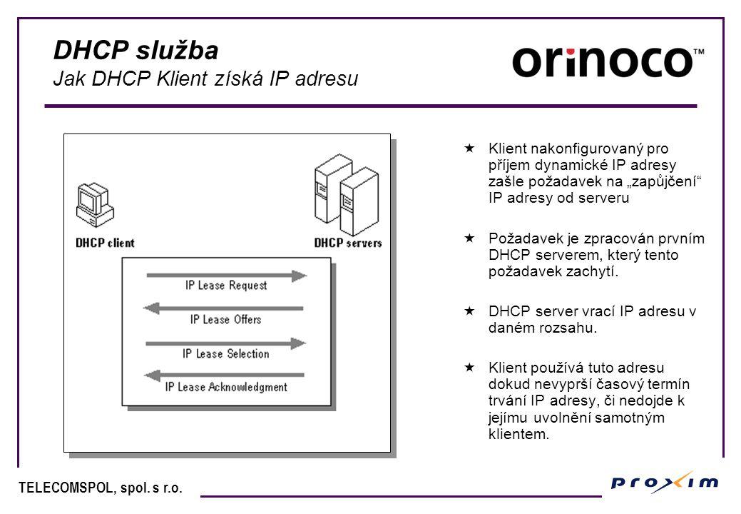 """TELECOMSPOL, spol. s r.o. DHCP služba Jak DHCP Klient získá IP adresu  Klient nakonfigurovaný pro příjem dynamické IP adresy zašle požadavek na """"zapů"""