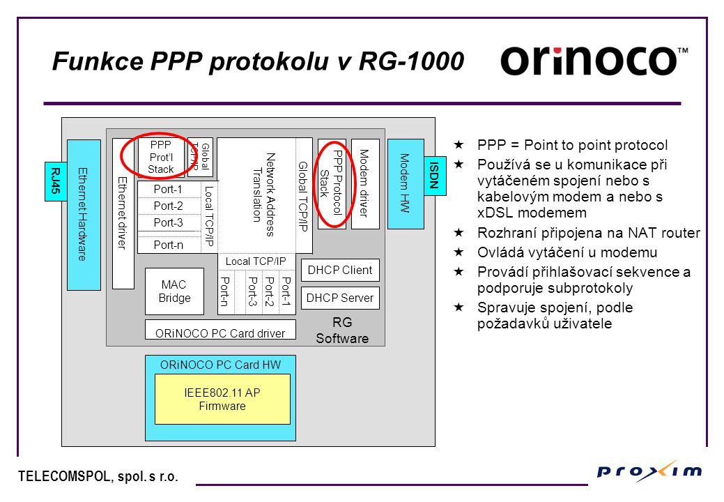 TELECOMSPOL, spol. s r.o. Funkce PPP protokolu v RG-1000  PPP = Point to point protocol  Používá se u komunikace při vytáčeném spojení nebo s kabelo