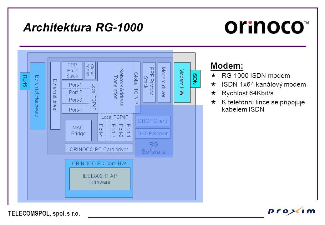TELECOMSPOL, spol.s r.o. DHCP služba v RG-1000 DHCP klient  RG samotné vyžaduje IP adresu.