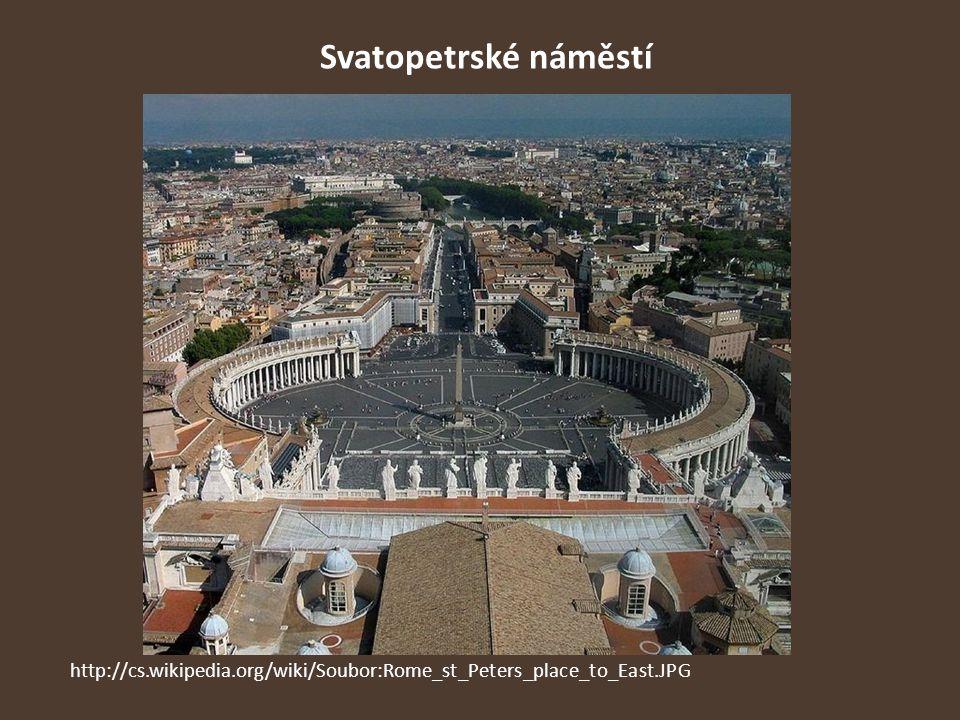 Svatopetrské náměstí http://cs.wikipedia.org/wiki/Soubor:Rome_st_Peters_place_to_East.JPG