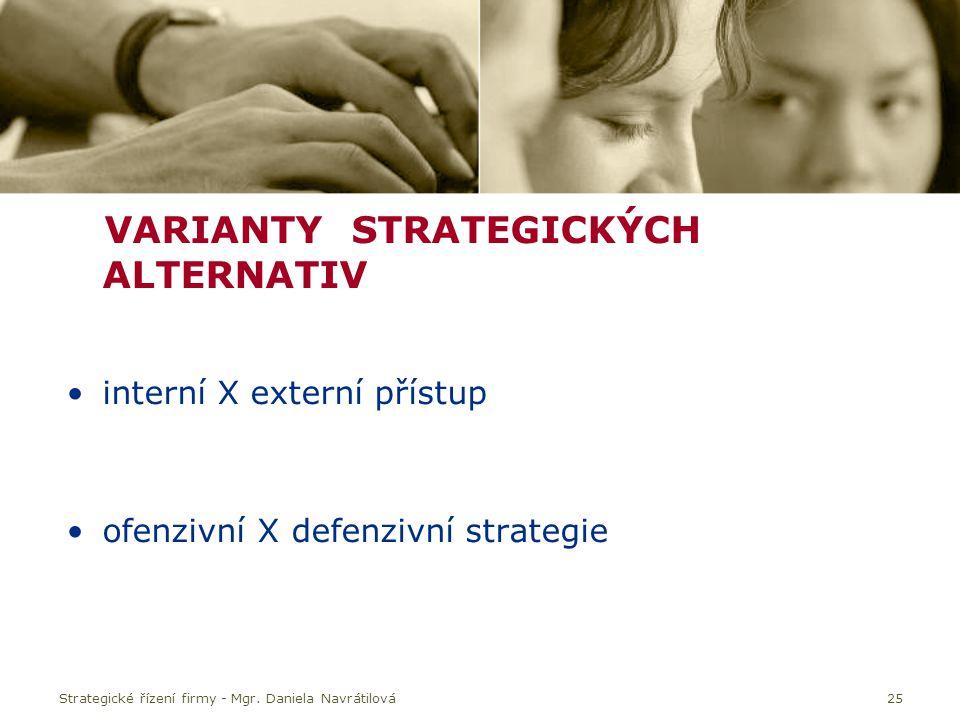 25 VARIANTY STRATEGICKÝCH ALTERNATIV interní X externí přístup ofenzivní X defenzivní strategie Strategické řízení firmy - Mgr.