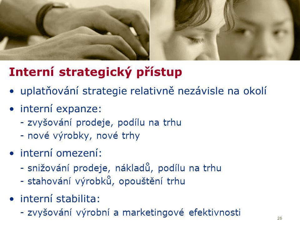 26 Interní strategický přístup uplatňování strategie relativně nezávisle na okolí interní expanze: - zvyšování prodeje, podílu na trhu - nové výrobky, nové trhy interní omezení: - snižování prodeje, nákladů, podílu na trhu - stahování výrobků, opouštění trhu interní stabilita: - zvyšování výrobní a marketingové efektivnosti