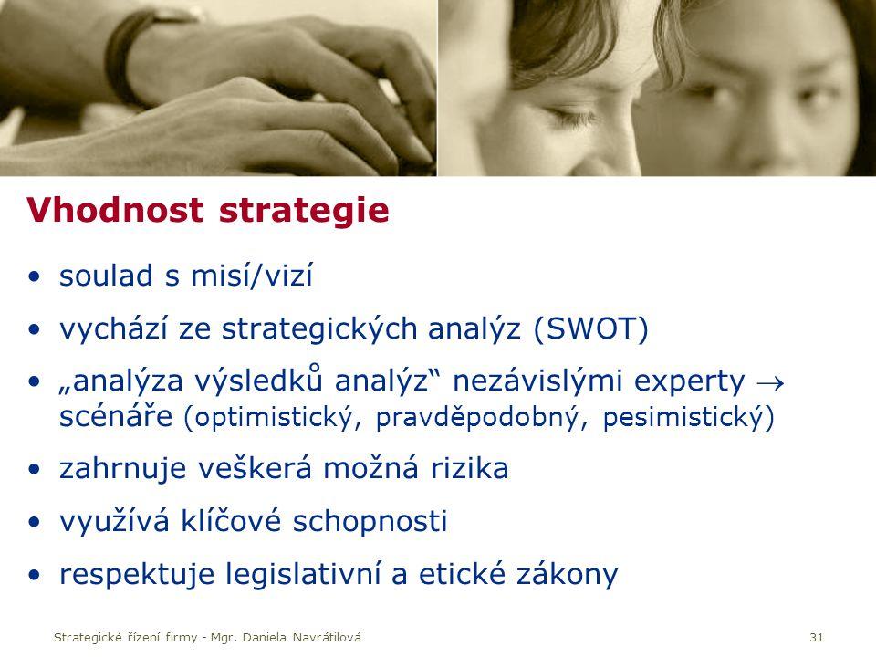 """31 Vhodnost strategie soulad s misí/vizí vychází ze strategických analýz (SWOT) """"analýza výsledků analýz nezávislými experty  scénáře (optimistický, pravděpodobný, pesimistický) zahrnuje veškerá možná rizika využívá klíčové schopnosti respektuje legislativní a etické zákony"""