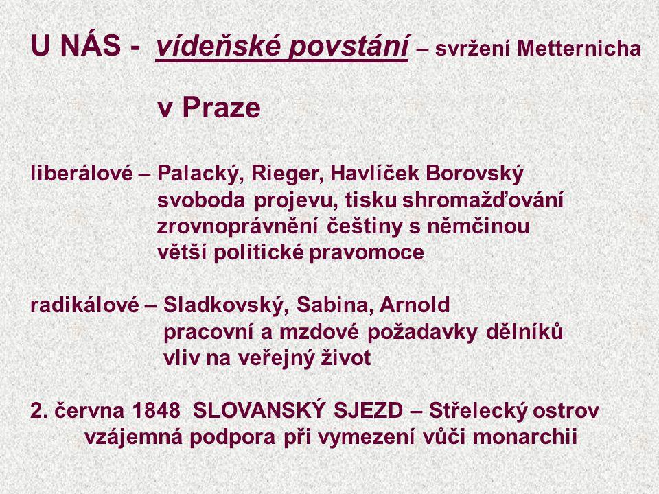 U NÁS - vídeňské povstání – svržení Metternicha v Praze liberálové – Palacký, Rieger, Havlíček Borovský svoboda projevu, tisku shromažďování zrovnoprávnění češtiny s němčinou větší politické pravomoce radikálové – Sladkovský, Sabina, Arnold pracovní a mzdové požadavky dělníků vliv na veřejný život 2.
