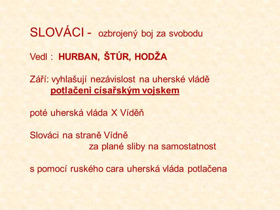 SLOVÁCI - ozbrojený boj za svobodu Vedl : HURBAN, ŠTÚR, HODŽA Září: vyhlašují nezávislost na uherské vládě potlačeni císařským vojskem poté uherská vláda X Víděň Slováci na straně Vídně za plané sliby na samostatnost s pomocí ruského cara uherská vláda potlačena