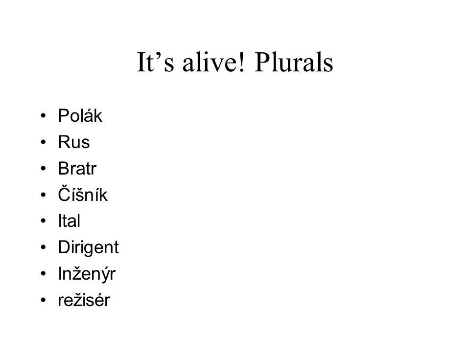 It's alive! Plurals Polák Rus Bratr Číšník Ital Dirigent Inženýr režisér