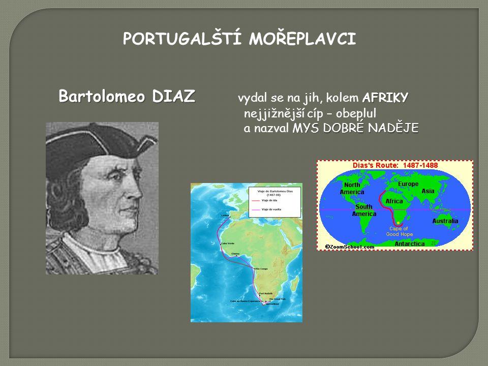 PORTUGALŠTÍ MOŘEPLAVCI Bartolomeo DIAZ AFRIKY Bartolomeo DIAZ vydal se na jih, kolem AFRIKY nejjižnější cíp – obeplul MYS DOBRÉ NADĚJE a nazval MYS DOBRÉ NADĚJE