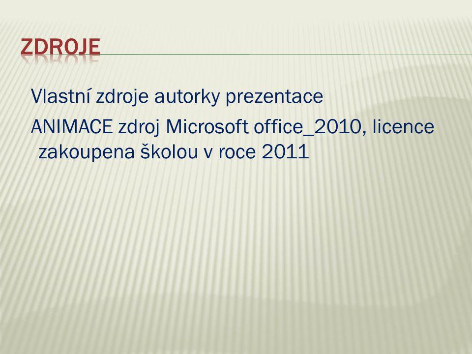 Vlastní zdroje autorky prezentace ANIMACE zdroj Microsoft office_2010, licence zakoupena školou v roce 2011