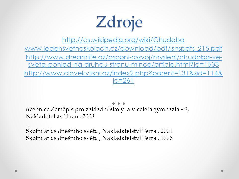 Zdroje http://cs.wikipedia.org/wiki/Chudoba www.jedensvetnaskolach.cz/download/pdf/jsnspdfs_215.pdf http://www.dreamlife.cz/osobni-rozvoj/mysleni/chud