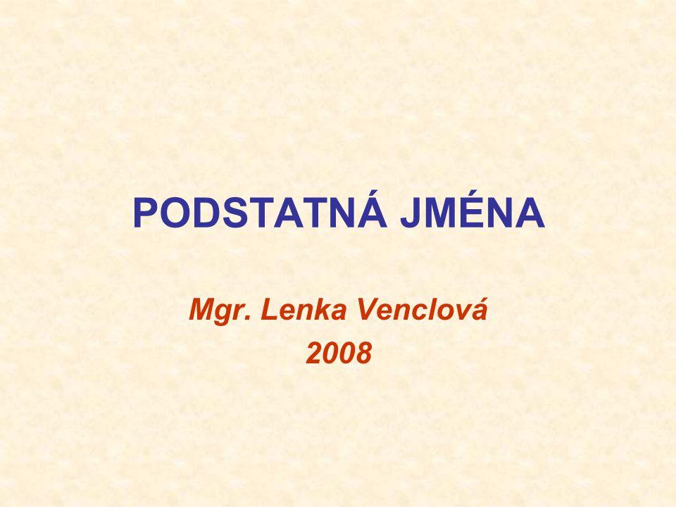 PODSTATNÁ JMÉNA Mgr. Lenka Venclová 2008