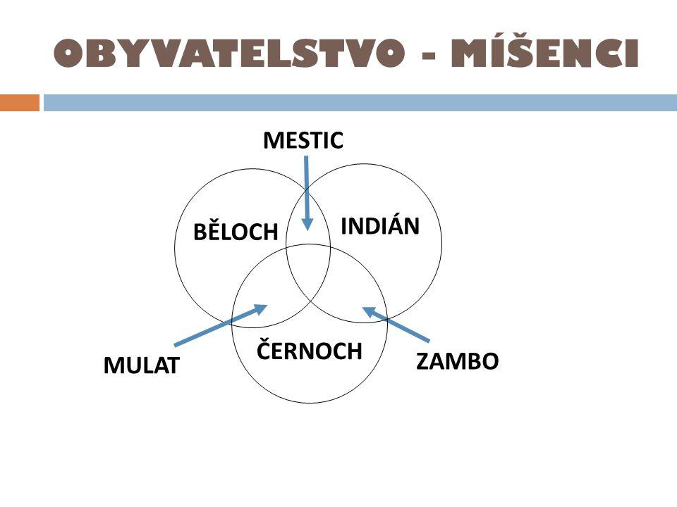 OBYVATELSTVO - MÍŠENCI BĚLOCH INDIÁN ČERNOCH MULAT MESTIC ZAMBO