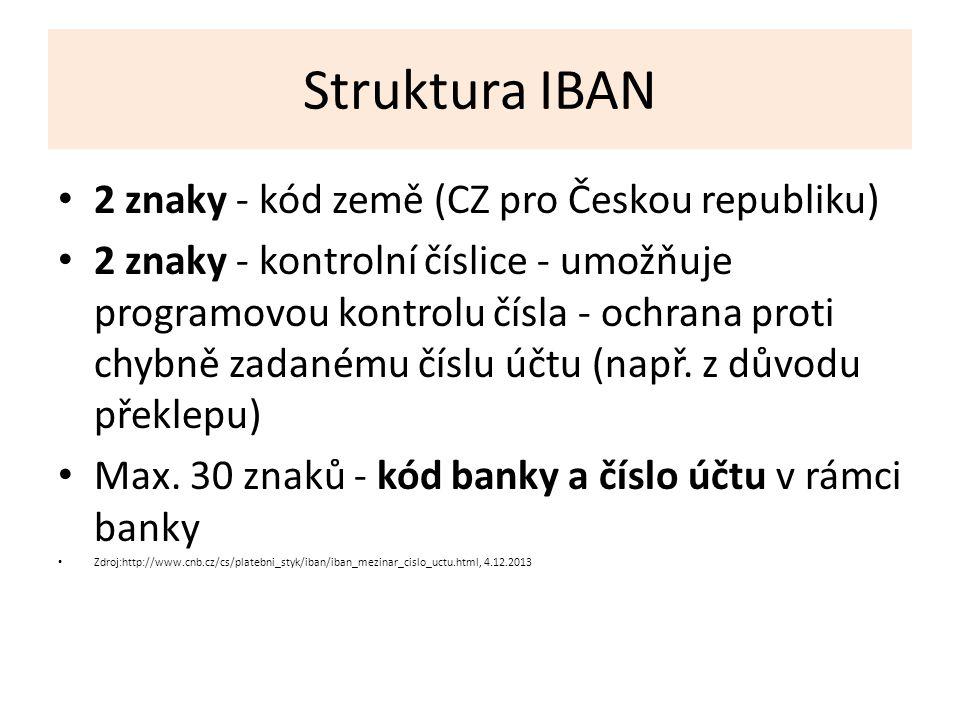 Struktura IBAN 2 znaky - kód země (CZ pro Českou republiku) 2 znaky - kontrolní číslice - umožňuje programovou kontrolu čísla - ochrana proti chybně zadanému číslu účtu (např.