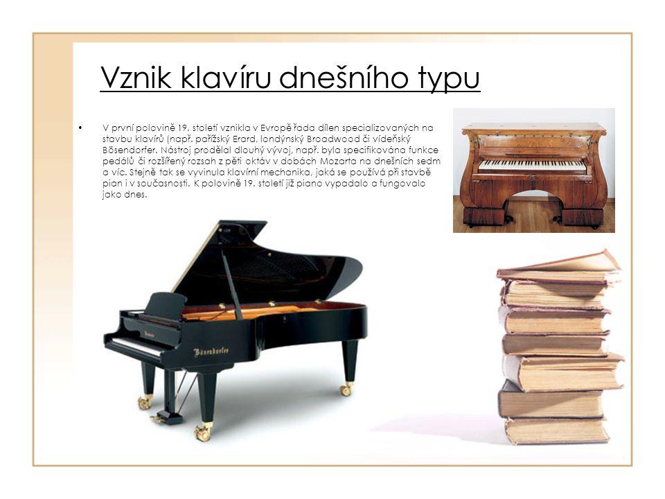 Výroba klavíru Výroba klavíru je dlouhý, finančné i technicky náročný proces, který od pokácení stromů k poslednímu doladění může trvat několik let (většinou čtyři až šest).