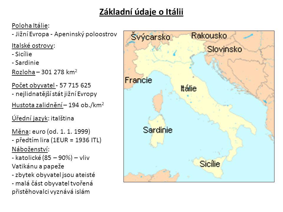 Hlavní město: - Řím (2,5 mil.obyvatel) Velká města: - Milán (1,25 mil.