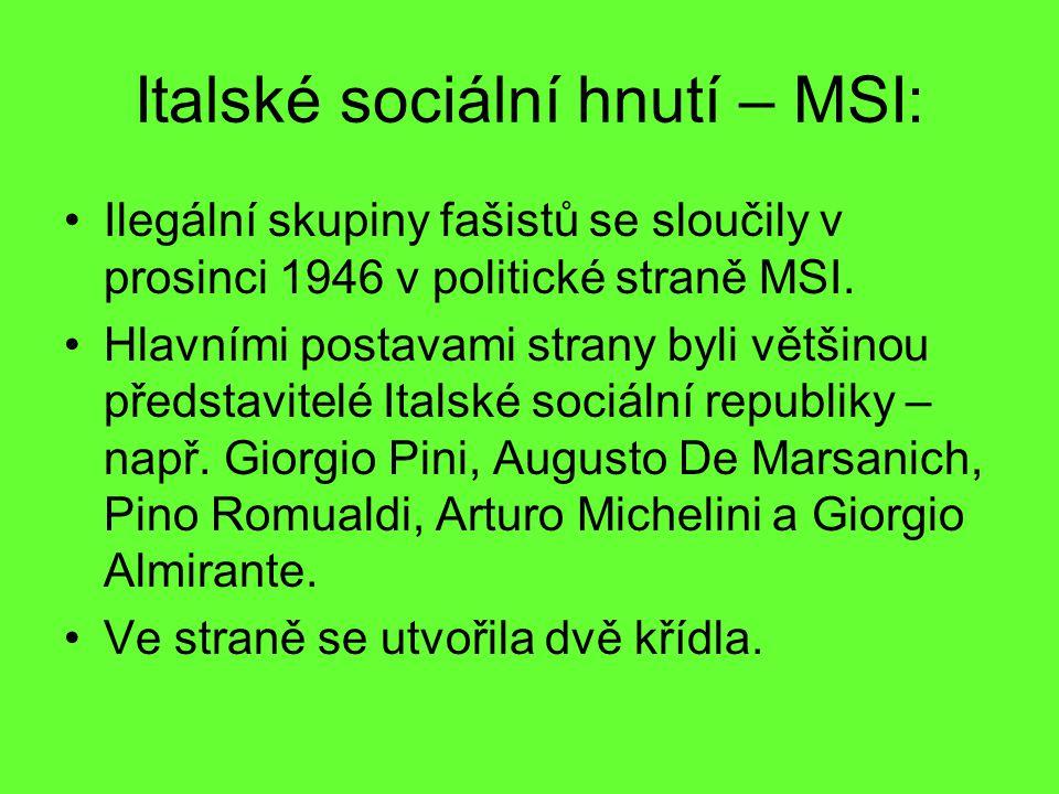 Italské sociální hnutí – MSI: Ilegální skupiny fašistů se sloučily v prosinci 1946 v politické straně MSI. Hlavními postavami strany byli většinou pře