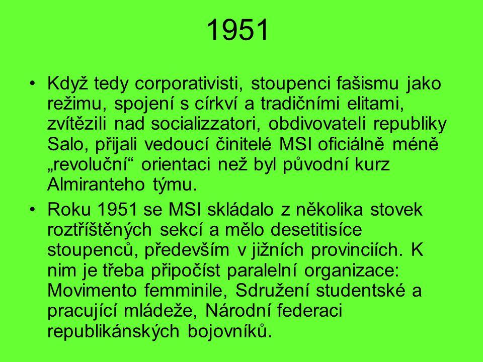 1951 Když tedy corporativisti, stoupenci fašismu jako režimu, spojení s církví a tradičními elitami, zvítězili nad socializzatori, obdivovateli republ