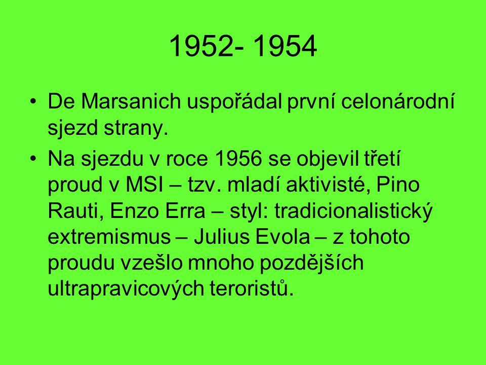 1952- 1954 De Marsanich uspořádal první celonárodní sjezd strany. Na sjezdu v roce 1956 se objevil třetí proud v MSI – tzv. mladí aktivisté, Pino Raut