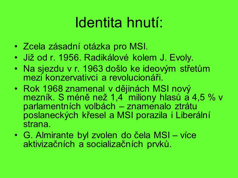 Identita hnutí: Zcela zásadní otázka pro MSI. Již od r. 1956. Radikálové kolem J. Evoly. Na sjezdu v r. 1963 došlo ke ideovým střetům mezi konzervativ